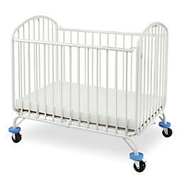 LA Baby® Folding Arched Portable Metal Mini Crib in White