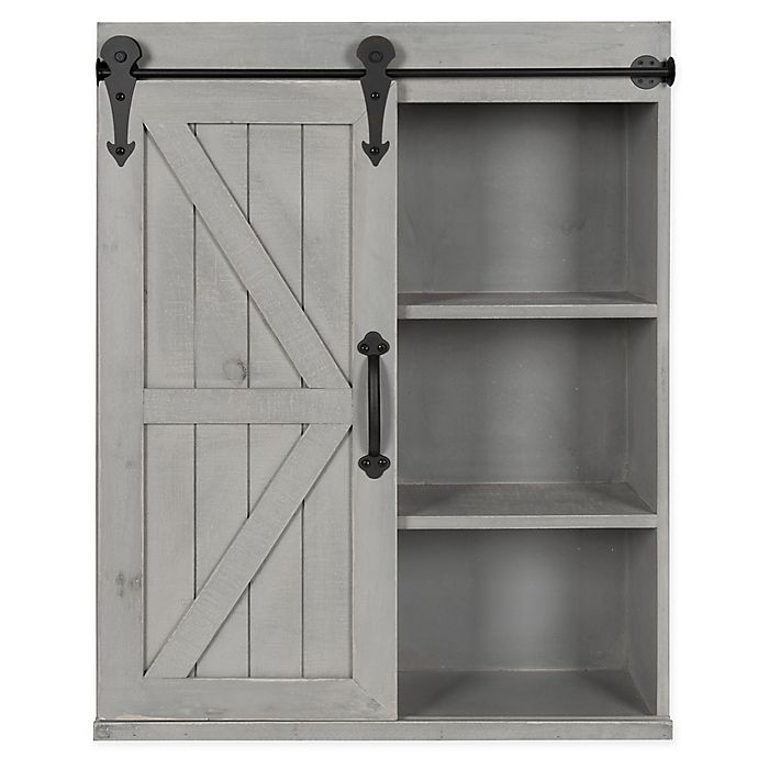 Alternate image 1 for Kate and Laurel™ Cates Decorative Wood Wall Storage Cabinet with Sliding Barn Door