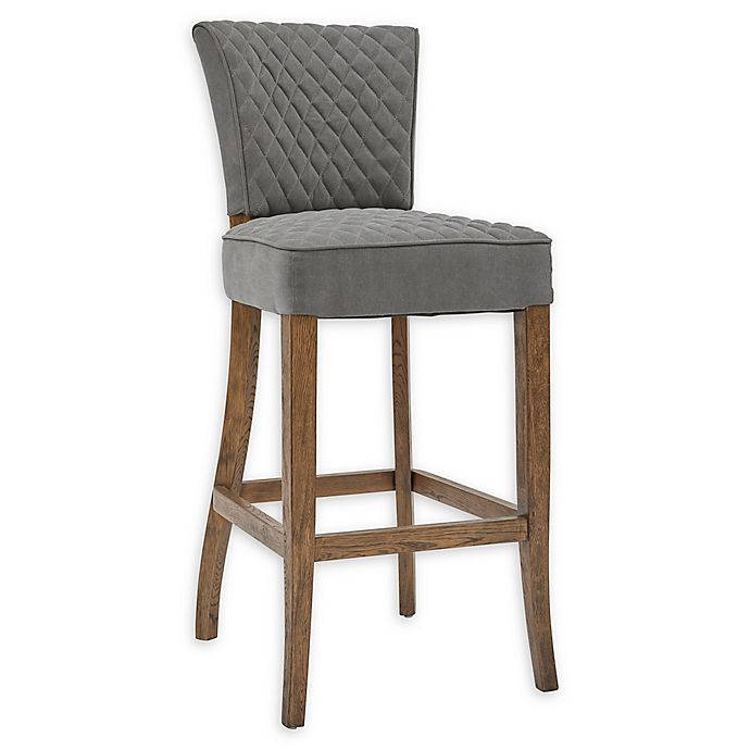 Alternate image 1 for Pulaski Diamond-Quilted Bar Stool in Grey