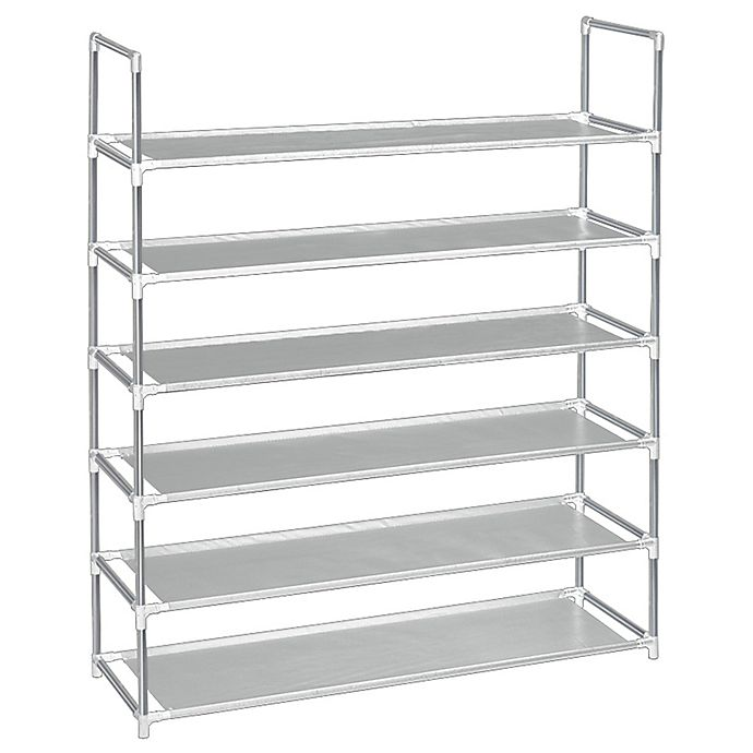 Alternate image 1 for SALT 6-Tier Fabric Shoe Rack in Grey