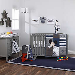 "Disney® Mickey Mouse ""Hello World"" 4-Piece Crib Bedding Set in Navy"