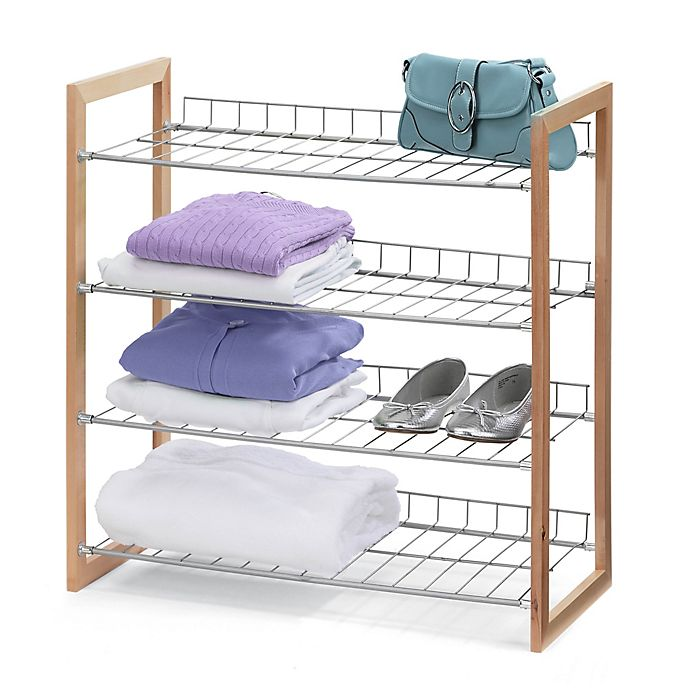 Alternate image 1 for Honey-Can-Do® 4-Tier Storage Shelf in Wood/Silver