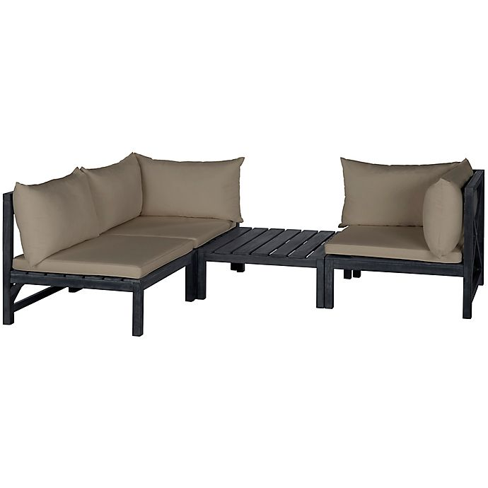 Alternate image 1 for Safavieh Lynwood 3-Piece Acacia Wood Modular Outdoor Sectional in Grey/Taupe