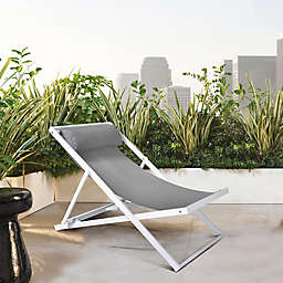 Armen Living Wave Deck Chair in White/Grey