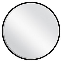 26-Inch Round Metal Mirror in Black