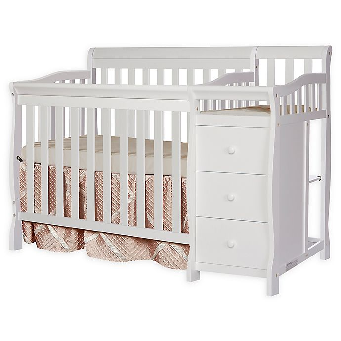 Alternate image 1 for Dream On Me Jayden 4-in-1 Mini Convertible Crib and Changer in White