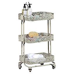 Lexy Floral 3-Tiered Metal Storage Cart