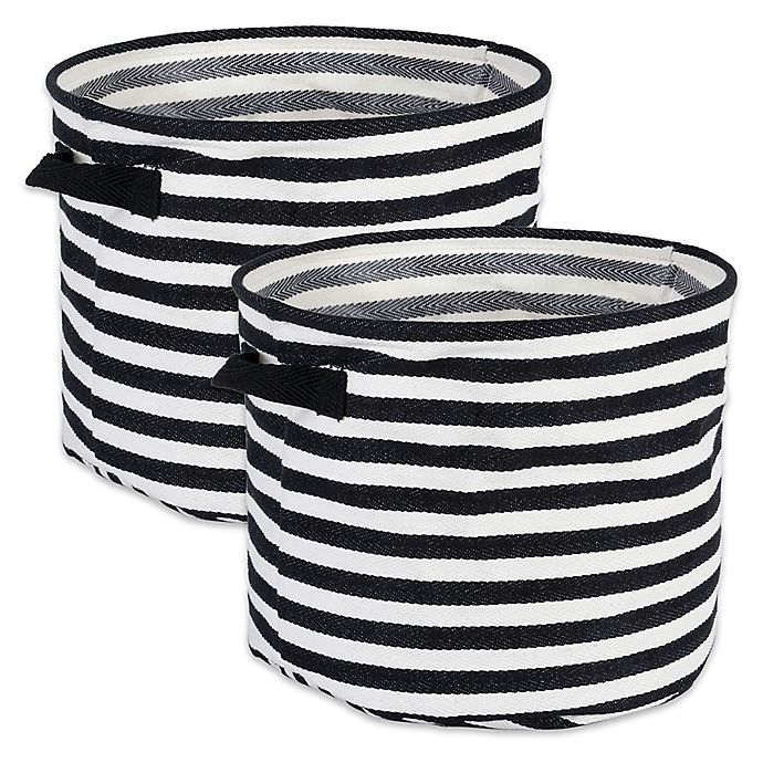 Alternate image 1 for Design Imports Collapsible Round Fabric Striped Storage Bins (Set of 2)