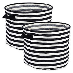 Design Imports Collapsible Round Fabric Striped Storage Bins (Set of 2)