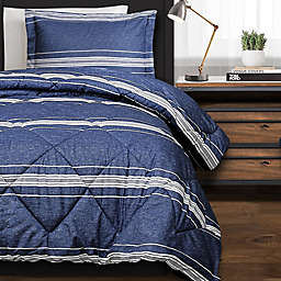 Marlton Stripe 3-Piece Full/Queen Comforter Set in Navy