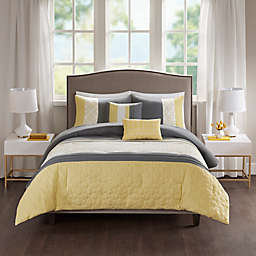 510 Design Donnell 5-Piece Full/Queen Embroidered Comforter Set in Yellow/Grey
