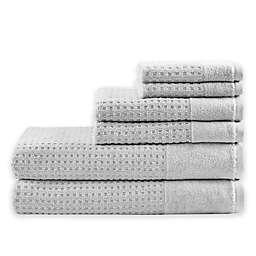 Madison Park 6-Piece Waffle Cotton Bath Towel Set in Grey