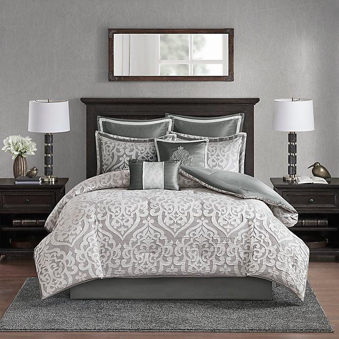 Alternate image 1 for Madison Park Odette Jacquard 8-Piece Reversible Comforter Set