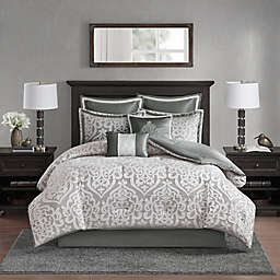 Madison Park Odette Jacquard 8-Piece Reversible King Comforter Set in Silver