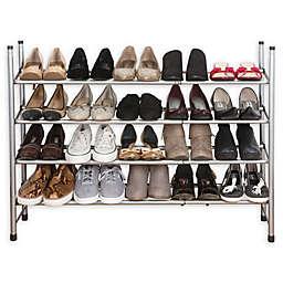Simplify 4-Tier Expandable Shoe Rack in Grey