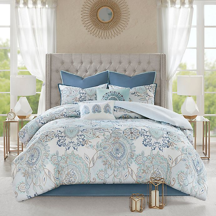 Alternate image 1 for Madison Park Isla 8-Piece Reversible King Comforter Set in Blue