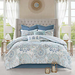 Madison Park Isla 8-Piece Reversible Queen Comforter Set in Blue