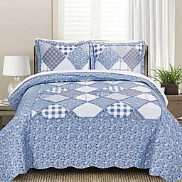 MHF Home Isabella Floral and Plaid Patchwork Quilt Set