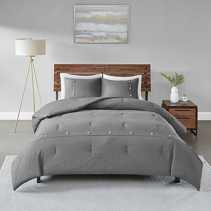 Alternate image 1 for Madison Park Finely Waffle Weave King/California King Comforter Set in Grey