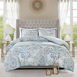 Madison Park Isla 3-Piece Reversible Full/Queen Duvet Cover Set in Blue