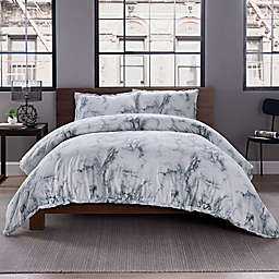 Garment Washed Printed 2-Piece Twin/TwinXL Duvet Cover Set in Marble