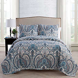 VCNY Home Lawrence Damask Queen Quilt Set in Blue