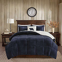 Woolrich® Alton Plush to Sherpa 4-Piece Full/Queen Comforter Set in Navy/Ivory