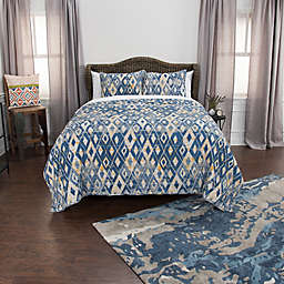 Rizzy Home Asher King Quilt Set in Blue/Yellow