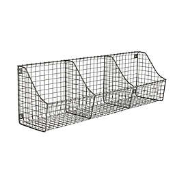 Spectrum™ Wall Mount Triple Storage Wire Basket in Grey