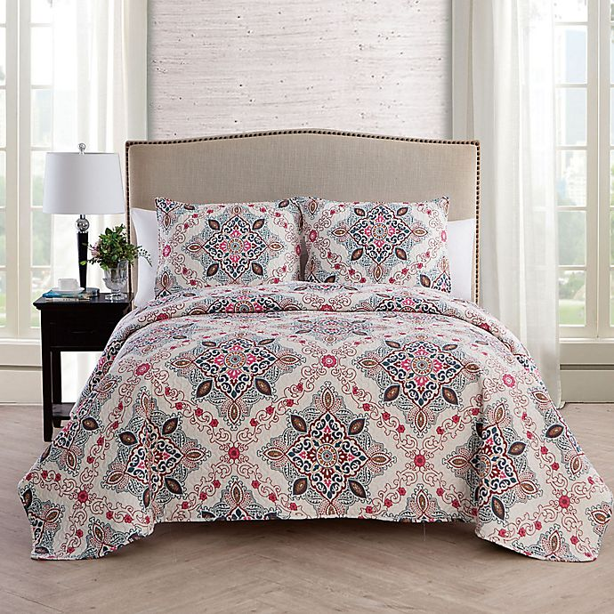 Alternate image 1 for VCNY Home Wyndham Medallion Reversible King Quilt Set