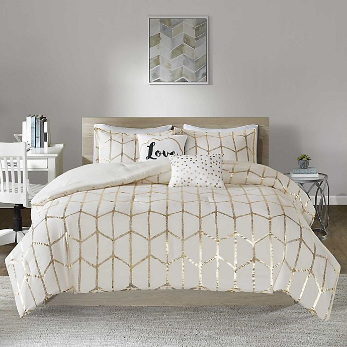 Alternate image 1 for Intelligent Design Raina 5-Piece King/California King Comforter Set in Ivory/Gold