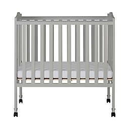 Dream On Me 2-in-1 Lightweight Folding Portable Mini Crib in Grey Pebble