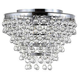 "JONATHAN Y Toronto 16"" Metal/Crystal LED Flush Mount in Chrome"