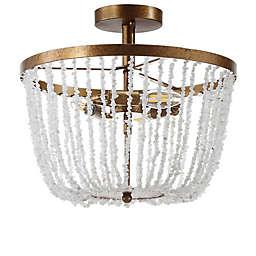 "JONATHAN Y Georgian 15"" Stone/Metal LED Flush Mount in Antique Gold"