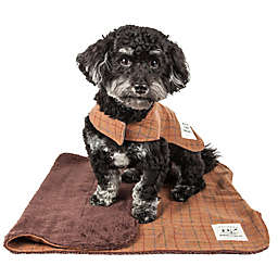 Touchdog® 2-in-1 Windowpane Plaid Dog Jacket with Reversible Dog Mat