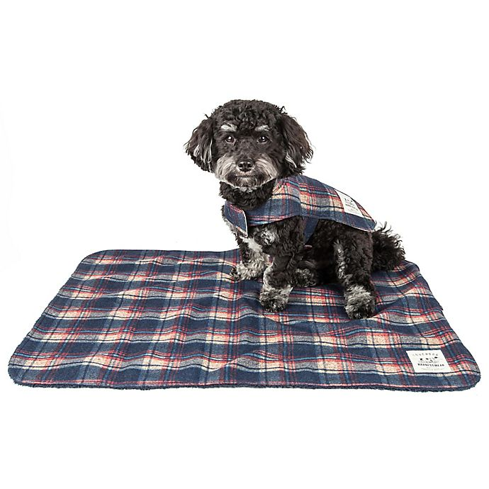 Alternate image 1 for Pet Life® 2-In-1 Tartan Dog Jacket with Matching Reversible Mat