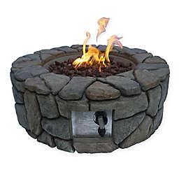 Round Propane Fire Pit in Dark Grey Faux Stone