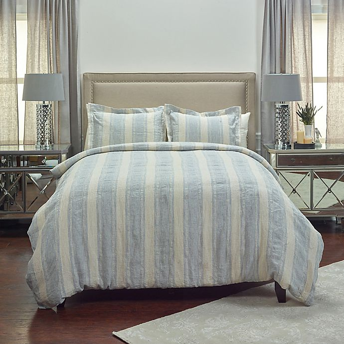 Alternate image 1 for Rizzy Home Mackie Queen Duvet Cover in Blue