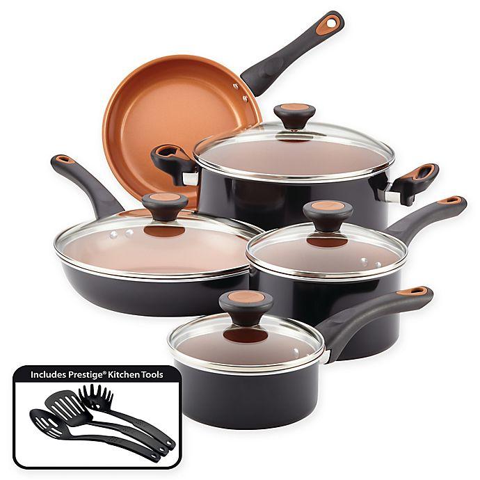 Alternate image 1 for Farberware® Glide™ Nonstick Copper Ceramic 12-Piece Cookware Set