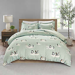 True North by Sleep Philosophy Penguin Flannel Full/Queen Duvet Cover Set in Blue