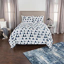 Rizzy Home Flint Geometric Twin XL Quilt Set in Blue
