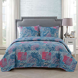 VCNY Home Ava Paisley 3-Piece King Quilt Set in Pink/Blue