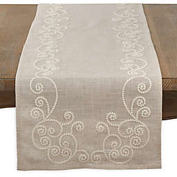 Saro Lifestyle Augustine Swirl 72-Inch Table Runner in Natural