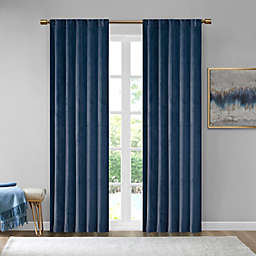 510 Design Colt 2-Pack 95-Inch Velvet Rod Pocket Room Darkening Window Curtain in Navy