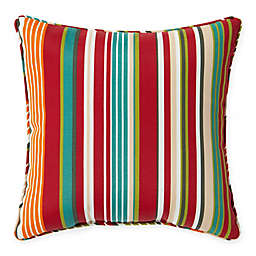 Destination Summer Stripe Outdoor 17-Inch Square Throw Pillow in Red