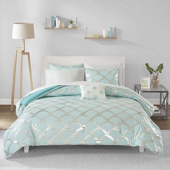 Alternate image 1 for Intelligent Design Lorna 6-Piece Twin Comforter Set in Aqua
