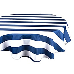 Design Imports Cabana Strip 60-Inch Round Indoor/Outdoor Tablecloth