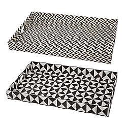 A&B Home 2-Piece Hanley Geometric Tray Set in Black