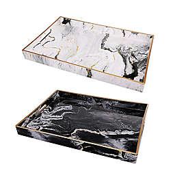 A&B Home 2-Piece Quinn Rectangular Tray Set in Black/White