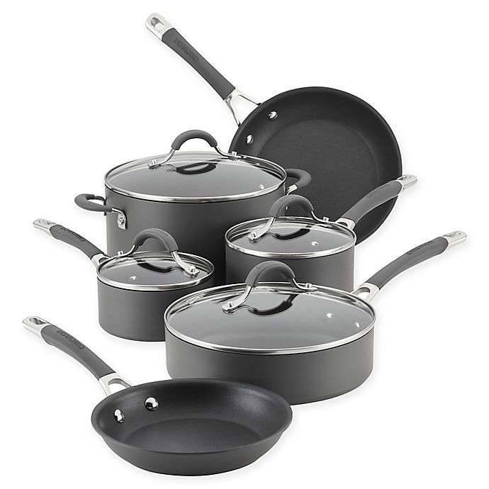 Alternate image 1 for Circulon Radiance Nonstick Hard-Anodized 10-Piece Cookware Set in Grey